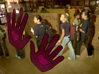 Grand Island school a bully-free zone: Purple hands on the office window are one component of the successful anti-violence program at Walnut Middle School in Grand Island.